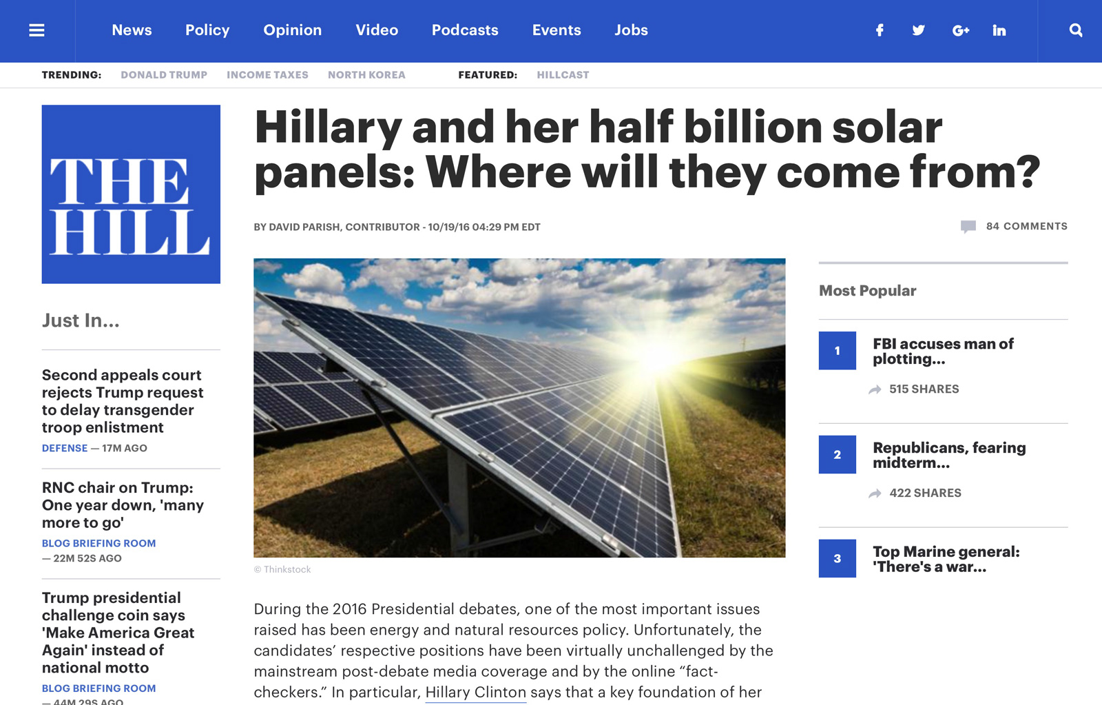 Hillary and her half billion solar panels